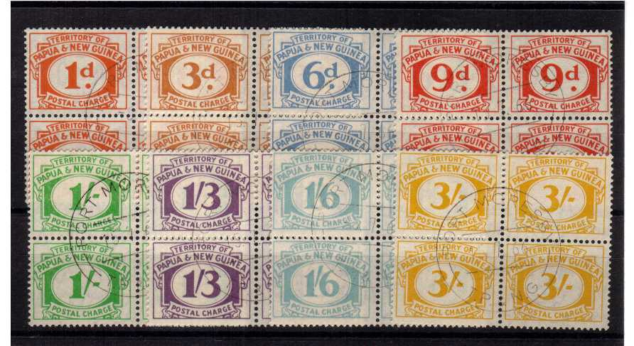 Complete set of eight in superb fine used blocks of four.