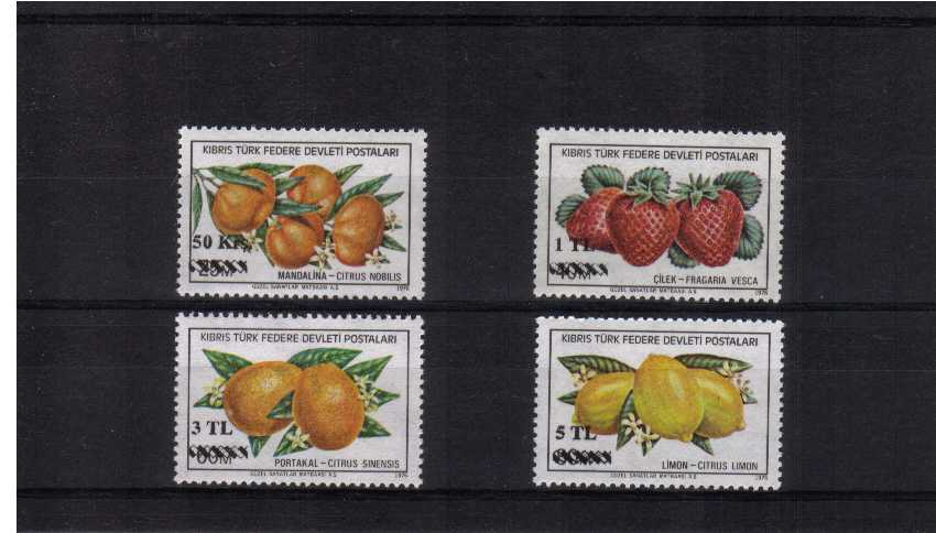 Overprint on Fruits set of four superb unmounted mint