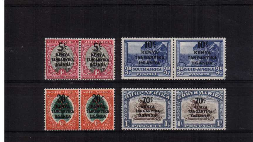 Set of four pairs overprinted on South Africa stamps superb unmounted mint.<br/><b>ZQH</b>