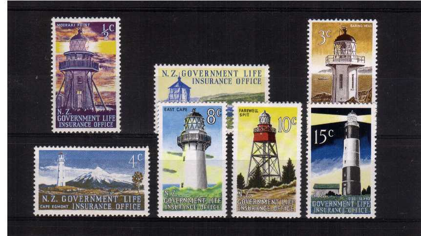 Lighthouses - Life Insurance - Superb unmounted mint set of seven.