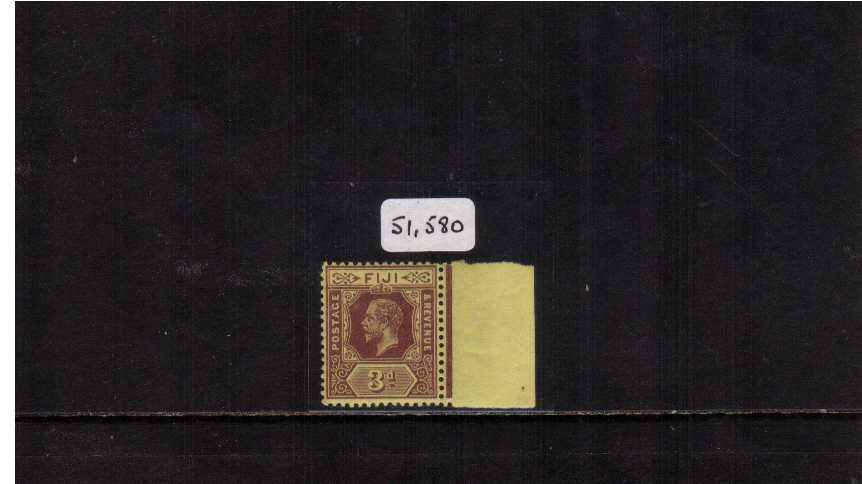 3d Purple on Yellow superb UNMOUNTED MINT with the added benefit of being right side SHEET MARGINAL thus easily showing the WATERMARK SIDEWAYS. A rare stamp, even rarer with marginal AND being unmounted. With BPA certificate stating