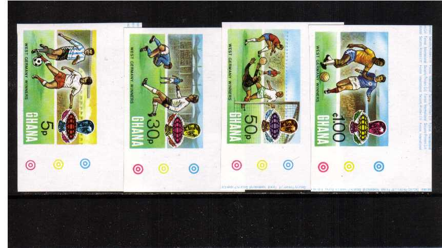 World Cup Football - West Germany set of four superb unmounted mint IMPERFORATE from the NE corner of the sheet.