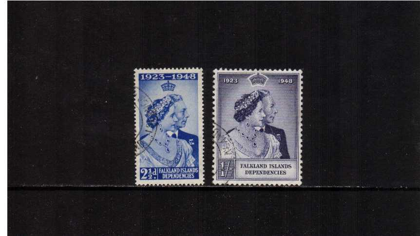 The 1948 Royal Silver Wedding set of two superb fine used.<br/><b>SEARCH CODE: 1948RSW</b><br/><b>ZKM</b>