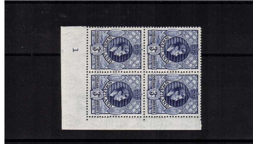 3d Deep Blue shade single in a superb unmounted mint plate block of four one hinged on margin.   SG Cat for singles �  c4qr