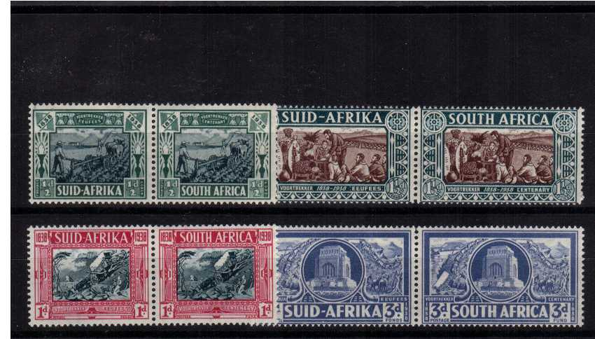 Voortrekker Centenial Memorial Fund set of four pairs superb unmounted mint. <br/><b>UFU</b>