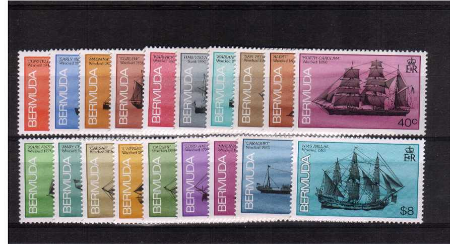 Ships Wrecked on Bermuda - Without date imprint - set of Nineteen superb unmounted mint.<br/><b>UEU</b>