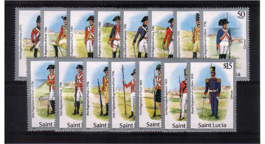 Uniforms - superb unmounted mint set of fifteen