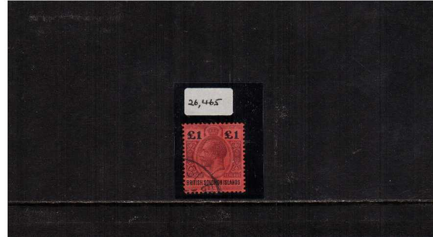�Purple and Black on Red. The top value to the set superb fine used with the benefit of  a BPA certificate statiing