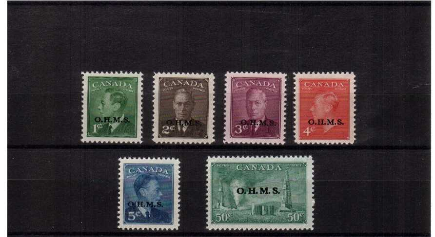The ''OFFICIALS'' set of six overprinted ''OHMS'' superb unmounted mint.