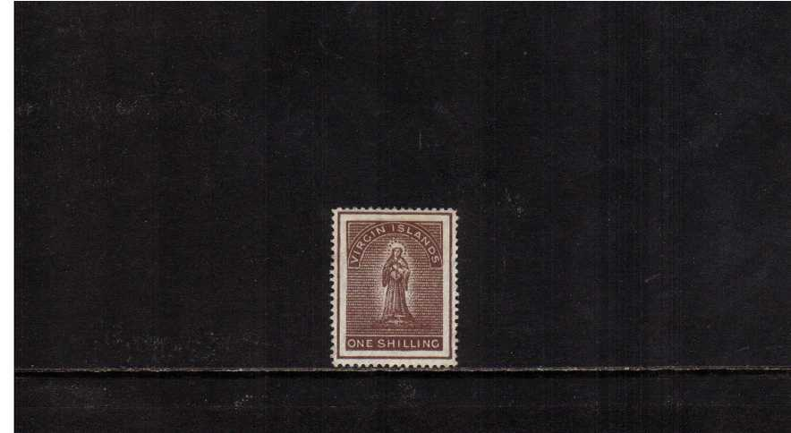 1/- Brown lightly mounted mint. A bright a fresh, well centered stamp.