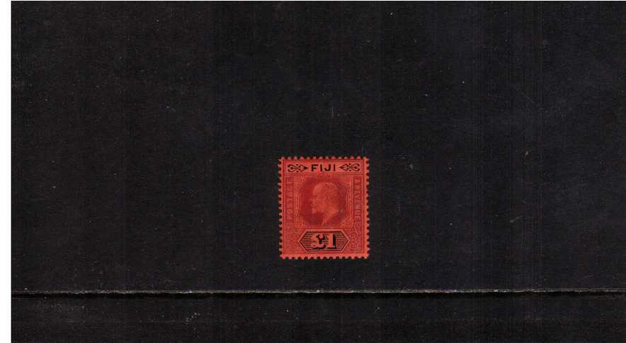 �Purple and Black on Red. A stunning stamp with just a trace of a hinge mark. A little gem!  SG Cat �0<br/><br/>