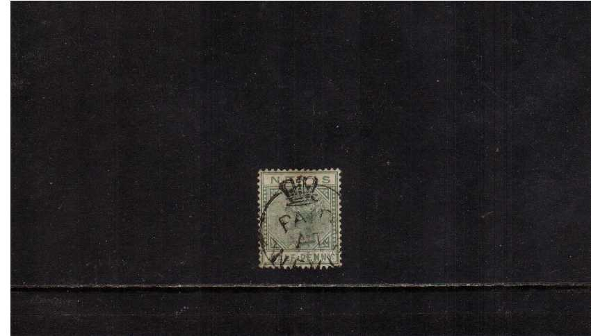 絛 Dull Green cancelled with an upright strike of the PAID AT NEVIS Crowned Circle handstamp. Unusual.