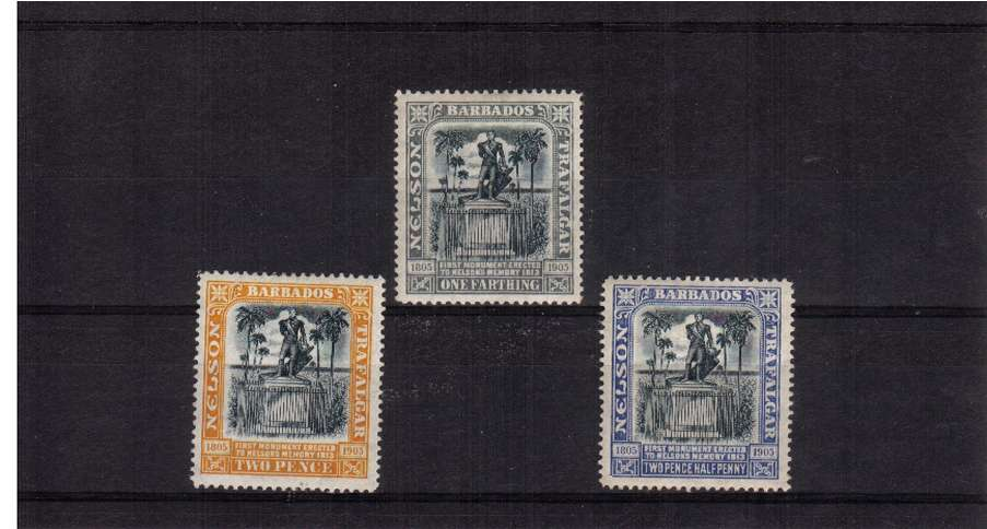 The Nelson Centenary set of three lightly mounted mint bright and fresh.