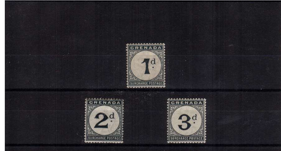Postage Due set of three with watermark Crown CA lightly mounted mint. Bright and fresh. A scarce set.