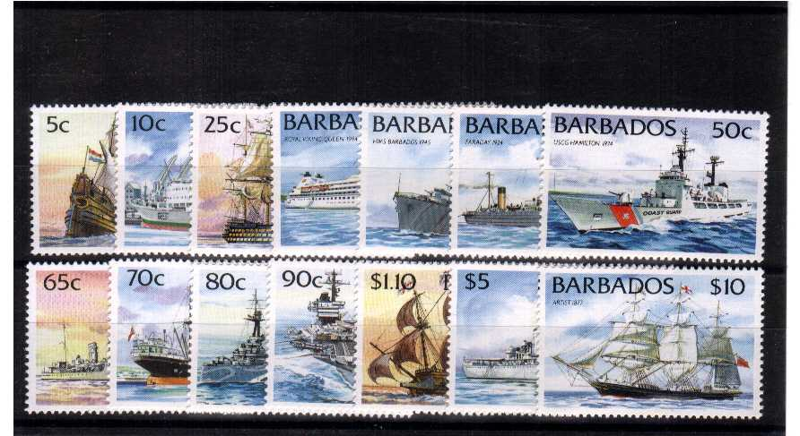 Ships set of fourteen - without imprint - superb unmounted mint.