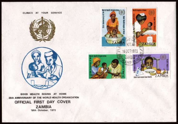 25th Anniversary of W.H.O. set of four on an unaddressed First Day Cover. <br/>A very, very scarce FDC!!<br/><br/>