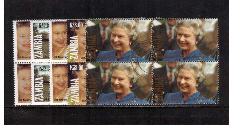 Queen Elizabeths' Accession set of five in superb fine used blocks of four.<br/><br/>