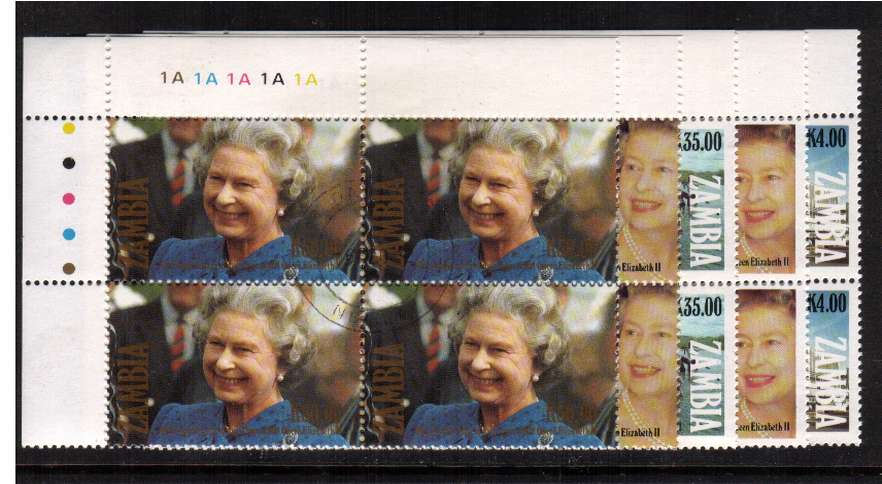 Queen Elizabeths' Accession set of five in superb fine used CYLINDER blocks of four.