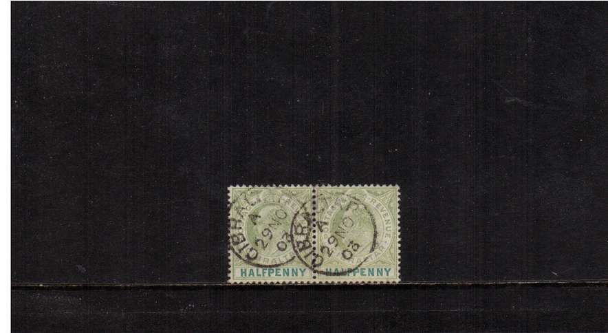 ½d Grey-Green and Green in a superb fine used pair cancelled with two strikes of a GIBRALTAR  CDS dated 29 NO 03