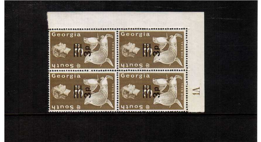 3p definitive odd value in a superb unmounted mint corner plate block of four.
