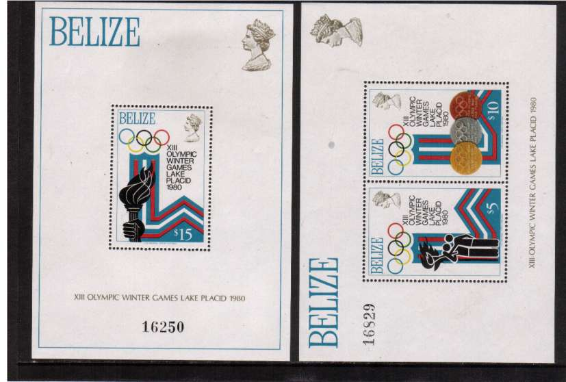 Winter Olympic Games - Lake Placid (1980) set of two minisheets superb mint.