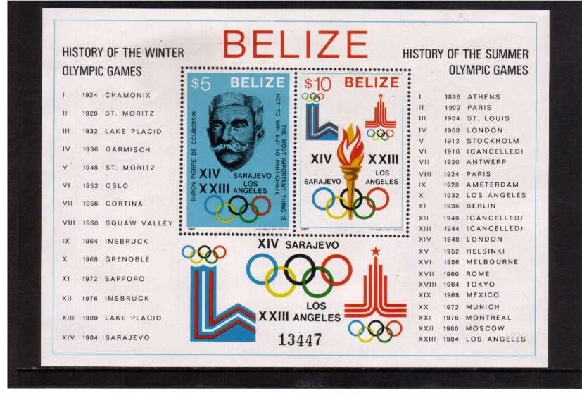 History of Olympic Games single odd minisheet superb unmounted mint.