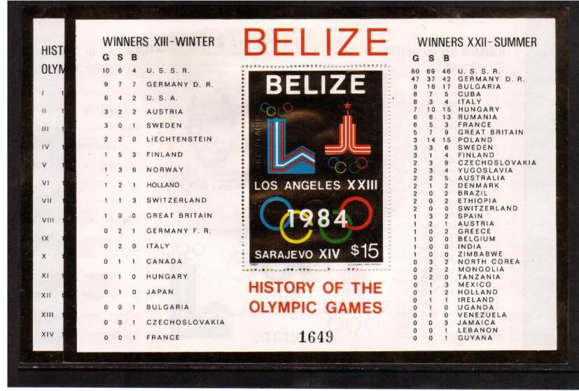 History of Olympic Games set of two minisheets superb unmounted mint with GOLD borders and stamps. See footnote in SG catalogue.