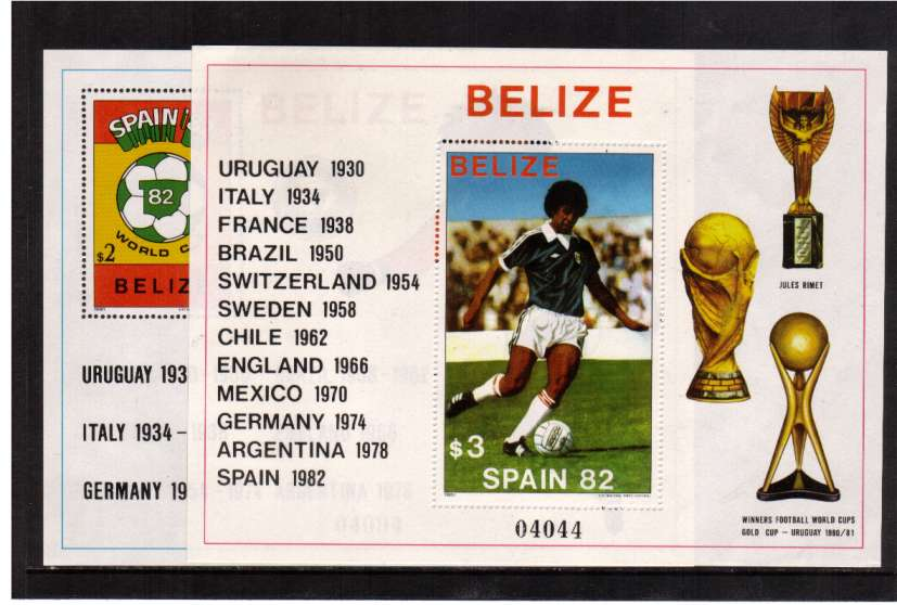 World Cup Football Championships - Spain (1st Issue) set of two minisheets superb unmounted mint.