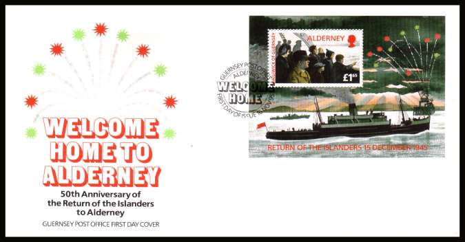 Welcome Home minisheet  on unaddressed illustrated First Day Cover with special cancel.