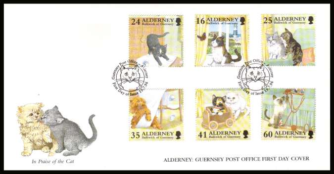 Cats set of six on unaddressed illustrated First Day Cover with special cancel.