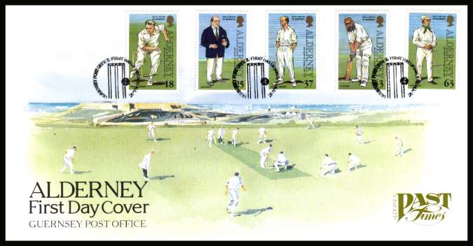 150th Anniversary of Cricket on Alderney set of five on unaddressed illustrated First Day Cover with special cancel.