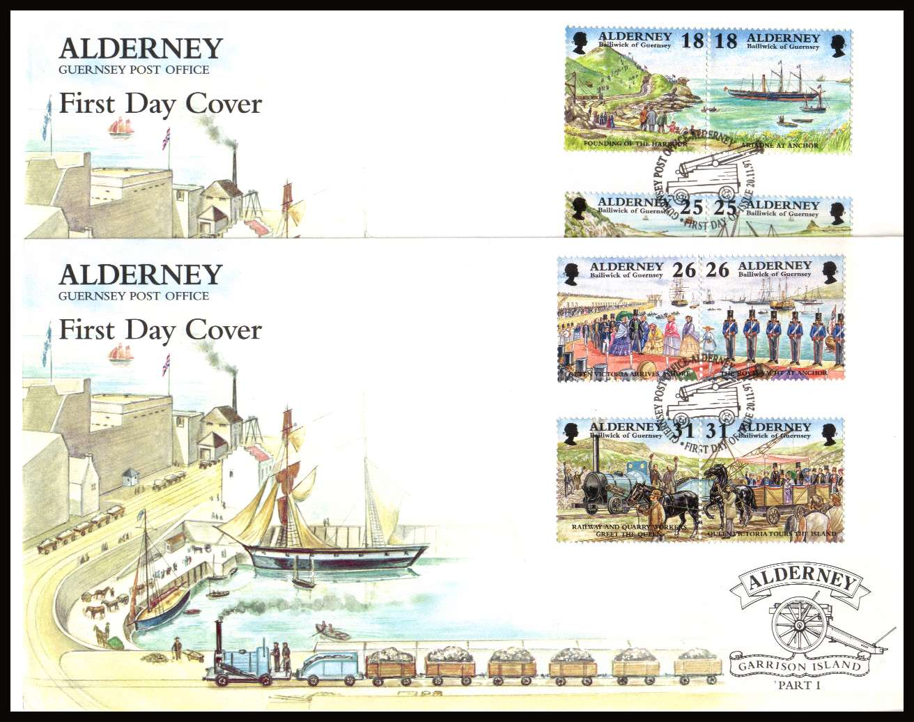 Garrison Island - 1st series - 150th Anniversary  of Harbour set of eight  on two unaddressed illustrated First Day Covers with special cancels.