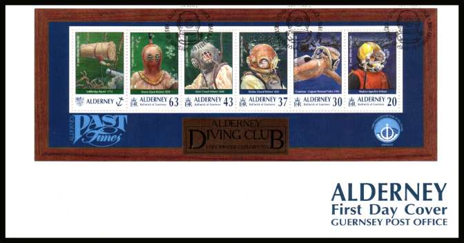 21st Anniversary of Alderney Diving Club minisheet on unaddressed illustrated First Day Cover with special cancel.