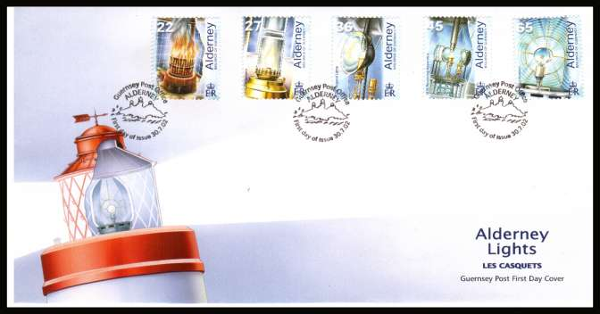 50th Anniversary  of Electrification of Les Casquets Lighthouse set of five on unaddressed illustrated First Day Cover with special cancel.
