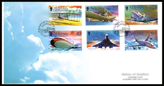 Centenary of Powered Flight set of six on unaddressed illustrated First Day Cover with special cancel.