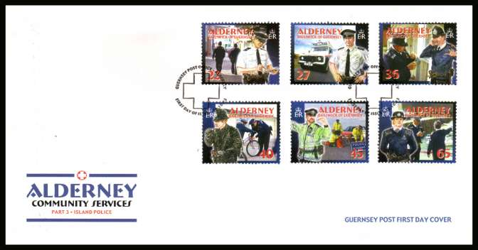 Community Services  - 3rd series -  Alderney Police set of six on unaddressed illustrated First Day Cover with special cancel.