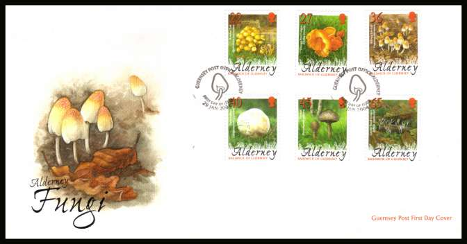 Fungi Mushrooms set of six on unaddressed illustrated First Day Cover with special cancel.
