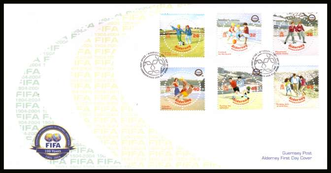 Centenary of FIFA Football Assiciation set of six on unaddressed illustrated First Day Cover with special cancel.