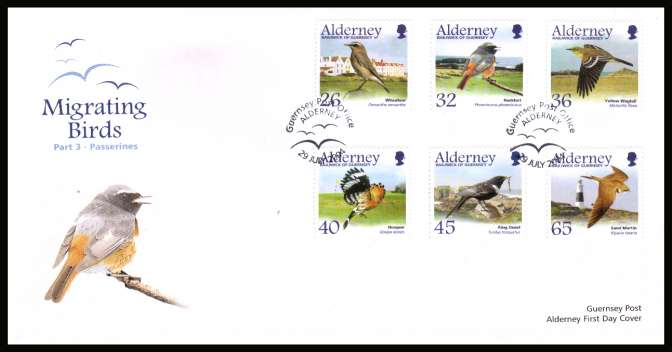 Migrating Birds - 3rd series -  Passerines set of six on unaddressed illustrated First Day Cover with special cancel.