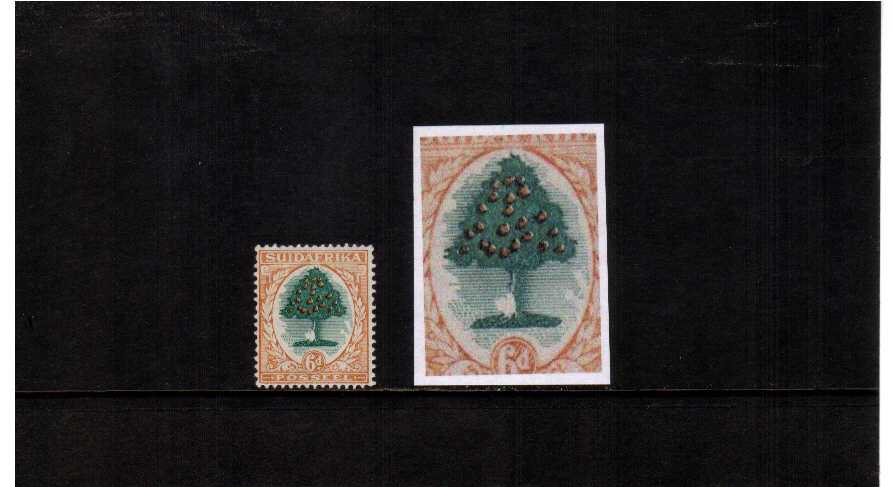 superb unmounted mint single showing lage parts of the green unprinted