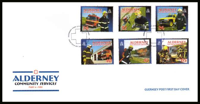 Community Services - 4th series -  Fire Service set of six on unaddressed illustrated First Day Cover with special cancel.