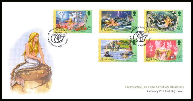 Birth Bicentenary of Hans Christian Andersen set of five on unaddressed illustrated First Day Cover with special cancel.
