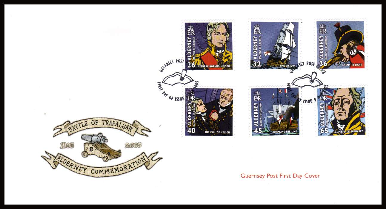 Bicentenary of Battle of Trafalgar set of six on unaddressed illustrated First Day Cover with special cancel.