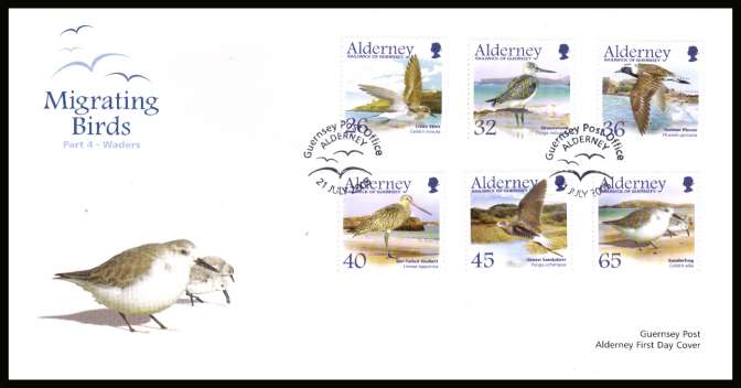 Migrating Birds - 4th series - Waders set of six on unaddressed illustrated First Day Cover with special cancel.