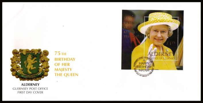 Queen's 75th Birthday minisheet  on unaddressed illustrated First Day Cover with special cancel.