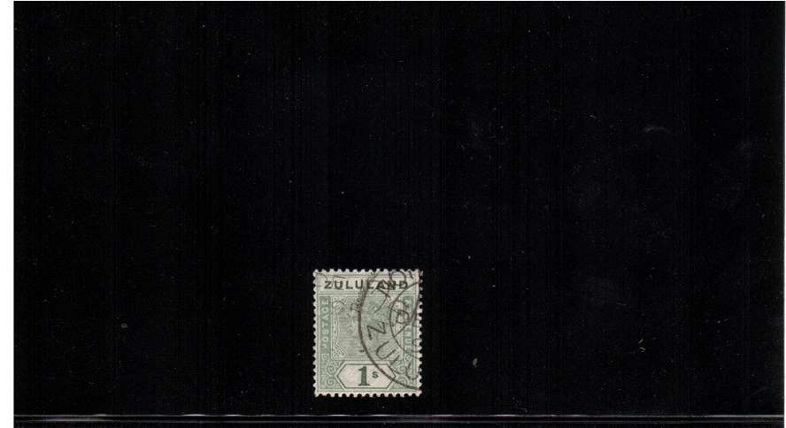 1/- Green cancelled with a double ring CDS