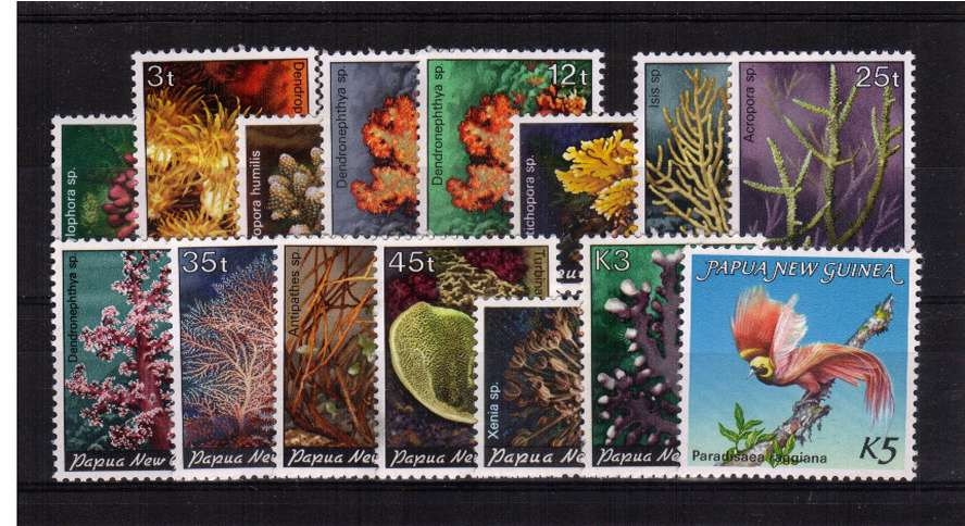 The Bird and Corals set of fifteen superb unmounted mint.