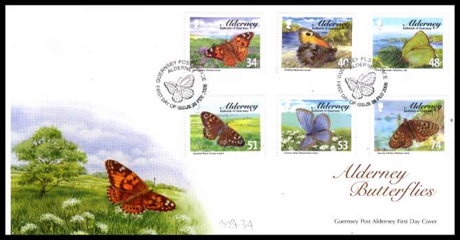 Butterflies set of six on unaddressed illustrated First Day Cover with special cancel.