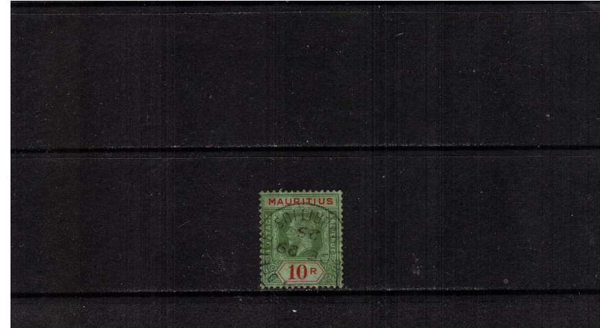 10R Green and Red on Emeral Back - Die II<br/>A superb fine used stamp cancelled with a steel circular date stamd dated DE 29 25. SG Cat �0