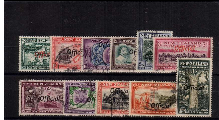 The Centennial set of eleven overprinted ''OFFICIAL'' fine used.